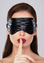 Soft Ruched Faux Leather Mask Black